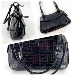 Maxx New York Black Croc Leather Shoulder Bag